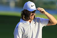 Tommy Fleetwood (ENG) on the 18th green during Thursday's Round 1 of the 2018 Turkish Airlines Open hosted by Regnum Carya Golf &amp; Spa Resort, Antalya, Turkey. 1st November 2018.<br /> Picture: Eoin Clarke | Golffile<br /> <br /> <br /> All photos usage must carry mandatory copyright credit (&copy; Golffile | Eoin Clarke)