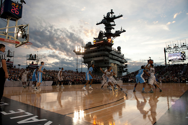 SAN DIEGO, CA - NOVEMBER 11, 2011: The Michigan State Spartans and the North Carolina Tar Heels in action during the 2011 Quicken Loans Carrier Classic on the USS Carl Vinson..(Photo by Robert Beck / ESPN)..- RAW FILE AVAILABLE -.- CMI000165158.jpg -