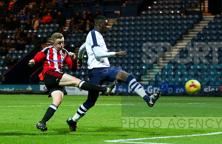 Sheffield United have a late goal ruled out for offside during the FA Youth Cup 3rd Round match at Deepdale Stadium, Preston. Picture date: November 30th, 2016. Pic Matt McNulty/Sportimage