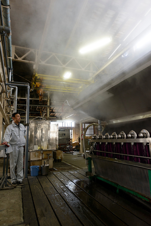 Dyeing wool at Oriental Carpet Mills, Yamanobe-machi, Yamagata, Japan, April 11, 2016. Oriental Carpet Mills was founded in 1935 and produces luxury hand-woven and tufted carpets. Its carpets are used all over the world, including in the Vatican, the Imperial Palace in Tokyo and the Kabukiza Kabuki Theatre.
