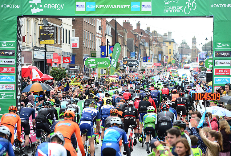 Picture by Simon Wilkinson/SWpix.com - 08/09/2017 - Cycling - OVO Energy Tour of Britain - Stage 6 Newmarket to Aldeburgh<br /> The roll out in Newmarket - peloton