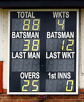 Hornsey scoreboard during the Middlesex County League Division Three game between Hornsey and North London at Tivoli Road, Crouch End on Sat July 17, 2010