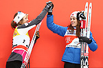 Cross Country Ski World Cup 2018 FIS in Val Di Fiemme, on January 7, 2018; Tour de ski; Final Climb; Women 9.0 Km Pursuit Free; Final podium with victory of Heidi Weng (NOR) ahaed of Ingvild Flugstad Oestberg (NOR)
