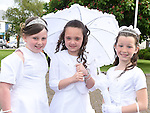 Kaitlyn Murphy, Ella McDonnell and Amy Doyle who received First Holy Communion in the Church of the Nativity Ardee. Photo:Colin Bell/pressphotos.ie