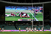 4th November 2017, Sydney Football Stadium, Sydney, Australia; Rugby League World Cup, England versus Lebanon; England watch the video replay of a try on the big screen of Ryan Hall scoring a try