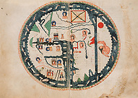 """Mappa Mundi"", showing the Apostles' dispersion in their respective regions. First edition of the ""Apocalypse, the Beatus held at El Burgo de Osma"", 11th century manuscript kept in the El Burgo de Osma Cathedral, on natural parchment made of animal skin published by Scriptorium SL in Valencia, Spain. © Scriptorium / Manuel Cohen"