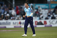Matt Fisher of Yorkshire celebrates taking the wicket of Neil Wagner to win the match during Essex Eagles vs Yorkshire Vikings, Royal London One-Day Cup Play-Off Cricket at The Cloudfm County Ground on 14th June 2018