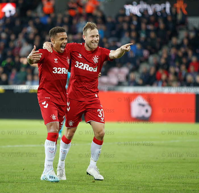 08.08.2019 FC Midtjylland v Rangers: Scott Arfield celebrates no 4 for Rangers with James Tavernier