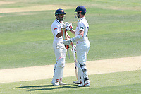 James Foster of Essex celebrates scoring a century, 100 runs and is congratulated by Ravi Bopara during Essex CCC vs Warwickshire CCC, Specsavers County Championship Division 1 Cricket at The Cloudfm County Ground on 20th June 2017