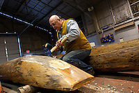 Jim Baugh from Ellensburg, Wash. repairs canoes made of ponderosa pine for the Wanapum Indians in Wanapum Village in Beverly, Washington on February 3, 2011.  (photo credit Karen Ducey)