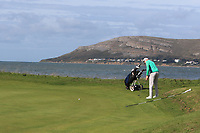 Robin Dawson from Ireland on the 9th green during Round 2 Singles of the Men's Home Internationals 2018 at Conwy Golf Club, Conwy, Wales on Thursday 13th September 2018.<br /> Picture: Thos Caffrey / Golffile<br /> <br /> All photo usage must carry mandatory copyright credit (&copy; Golffile | Thos Caffrey)
