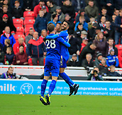 4th November 2017, bet365 Stadium, Stoke-on-Trent, England; EPL Premier League football, Stoke City versus Leicester City; Riyad Mahrez of Leicester City celebrates with Christian Fuchs after scoring Leicesters second goal in the 60th minute to make the score 2-1 to Leicester