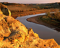 Sunset light on the Little Missouri River; Theodore Roosevelt National Park, ND