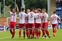 Danny Newton of Stevenage scores the first goal for his team and celebrates during Colchester United vs Stevenage, Sky Bet EFL League 2 Football at the Weston Homes Community Stadium on 12th August 2017