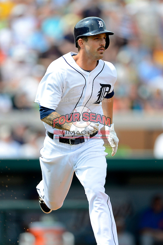 Detroit Tigers second baseman Jeff Kobernus #46 during a Spring Training game against the New York Mets at Joker Marchant Stadium on March 11, 2013 in Lakeland, Florida.  New York defeated Detroit 11-0.  (Mike Janes/Four Seam Images)
