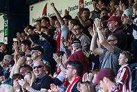 Cheltenham Town fans celebrates a goal during the Sky Bet League 2 match between Wycombe Wanderers and Cheltenham Town at Adams Park, High Wycombe, England on the 8th April 2017. Photo by Liam McAvoy.