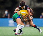 Brazil vs Hong Kong during the Day 1 of the IRB Women's Sevens Qualifier 2014 at the Skek Kip Mei Stadium on September 12, 2014 in Hong Kong, China. Photo by Aitor Alcalde / Power Sport Images