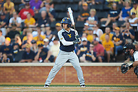 Kyle Gray (9) of the West Virginia Mountaineers at bat against the Wake Forest Demon Deacons in Game Four of the Winston-Salem Regional in the 2017 College World Series at David F. Couch Ballpark on June 3, 2017 in Winston-Salem, North Carolina. The Demon Deacons walked-off the Mountaineers 4-3. (Brian Westerholt/Four Seam Images)