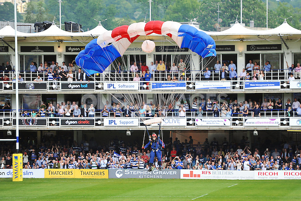 A general view of the RAF Falcons Parachute Display team, in action at half-time. Aviva Premiership semi-final, between Bath Rugby and Leicester Tigers on May 23, 2015 at the Recreation Ground in Bath, England. Photo by: Patrick Khachfe / Onside Images