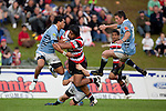 Mateo Malupo and David Holwell jump in support for Luke Hamilton as he tackles Ahsee Tuala.  ITM Cup rugby game between Counties Manukau Steelers and Northland, played at Bayer Growers Stadium, Pukekohe, on Sunday September 26th 2010..The Counties Manukau Steelers won 40 - 24 after leading 27 - 7 at halftime.