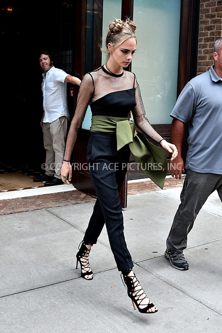 www.acepixs.com<br /> <br /> July 29 2016, New York City<br /> <br /> Actress Cara Delevingne wears black pants and strappy heels as she leaves a downtown hotel to promote 'Suicide Squad' on July 29 2016 in New York City<br /> <br /> By Line: Curtis Means/ACE Pictures<br /> <br /> <br /> ACE Pictures Inc<br /> Tel: 6467670430<br /> Email: info@acepixs.com<br /> www.acepixs.com
