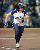 Michigan Wolverines Softball infielder Lindsay Montemarano (18) runs to first during a game against the University of South Florida Bulls on February 8, 2014 at the USF Softball Stadium in Tampa, Florida.  Michigan defeated USF 3-2.  (Copyright Mike Janes Photography)