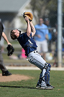 Upper Iowa University Peacocks catcher Cody Booker (26) during a game against Slippery Rock University at Frank Tack Field on March 14, 2014 in Clearwater, Florida.  Slippery Rock defeated Upper Iowa 14-9.  (Mike Janes/Four Seam Images)