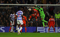 FAO SPORTS PICTURE DESK<br /> Pictured: Michel Vorm goalkeeper for Swansea (green) defending with team mate Ashley Williams who is infront of him. Wednesday, 11 April 2012<br /> Re: Premier League football, Queens Park Rangers v Swansea City FC Loftus Road Stadium, London.