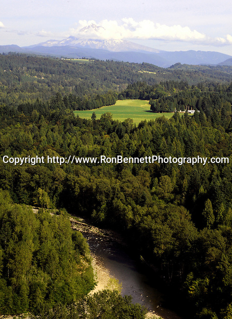Mount Hood in rolling hills of Oregon,
