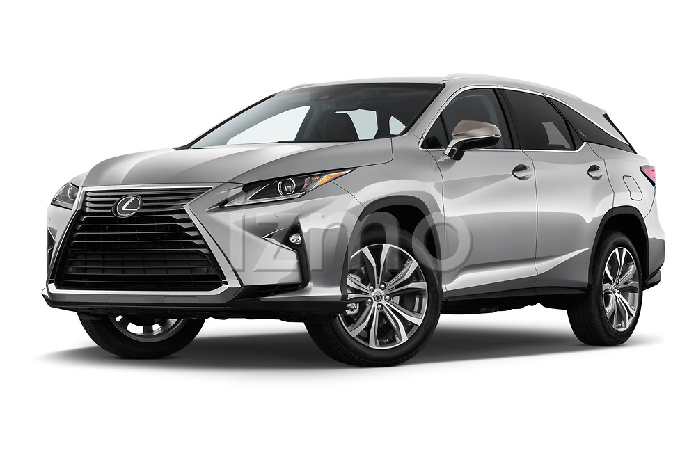 Stock pictures of low aggressive front three quarter view of 2018 Lexus RX 350L-4x2 5 Door SUV Low Aggressive