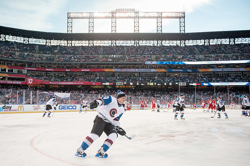 27 FEBRUARY 2016:   Colorado Avalanche center Matt Duchene (9) skates before a NHL Stadium Series game between the Red Wings an Avalanche at Coors Field in Denver Denver, Colorado.  (Photo by Dustin Bradford/Icon Sportswire)