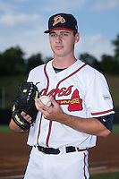 Danville Braves pitcher Taylor Hyssong (18) poses for a photo prior to the game against the Pulaski Yankees at American Legion Post 325 Field on August 1, 2016 in Danville, Virginia.  The Yankees defeated the Braves 4-1.  (Brian Westerholt/Four Seam Images)