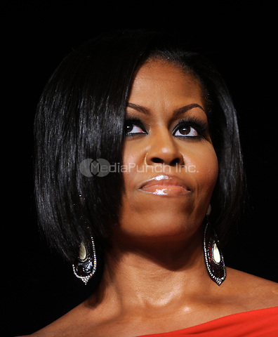 First Lady Michelle Obama looks on during the White House Correspondents' Association Dinner at the Washington Hilton in Washington, DC, on Saturday, May 1, 2010.<br /> Credit: Olivier Douliery / Pool via CNP /MediaPunch