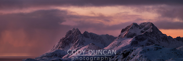 Panoramic view over winter mountain landscape, Moskenesøy, Lofoten Islands, Norway