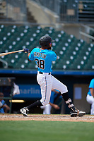 Miami Marlins Lorenzo Hampton Jr (38) at bat during an Instructional League game against the Washington Nationals on September 25, 2019 at Roger Dean Chevrolet Stadium in Jupiter, Florida.  (Mike Janes/Four Seam Images)