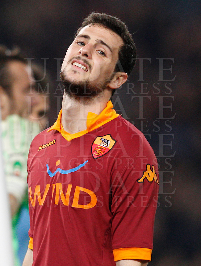 Calcio, Serie A: Roma vs Lazio. Roma, stadio Olimpico, 8 aprile 2013..AS Roma forward Mattia Destro reacts after missing a scoring chance during the Italian Serie A football match between AS Roma and Lazio at Rome's Olympic stadium, 8 April 2013..UPDATE IMAGES PRESS/Riccardo De Luca