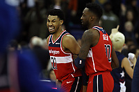 17th January 2019, The O2 Arena, London, England; NBA London Game, Washington Wizards versus New York Knicks; Otto Porter Jr of the Washington Wizards celebrates the win with Jeff Green