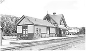 View of RGS Dolores depot showing the new restroom doors which had been recently added.<br /> RGS  Dolores, CO  Taken by Jackson, Richard B. - 7/17/1941