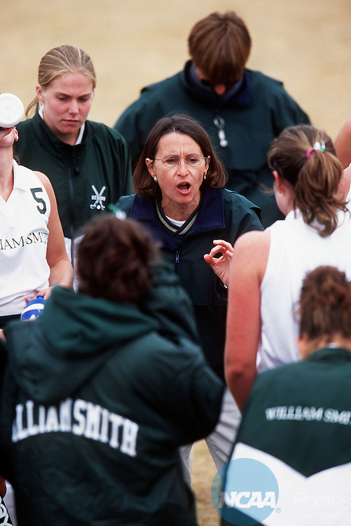12 NOV 2000:  William Smith College head coach Sally Scatton talks during a timeout at the Division III Women's Field Hockey Championship held on the Salisbury State University campus in Salisbury, Maryland.  William Smith defeated Springfield 1-0 for the national title.  Henrik G DeGyor/NCAA Photos