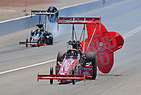 Apr. 5, 2009; Las Vegas, NV, USA: NHRA top fuel dragster driver Brandon Bernstein after defeating Larry Dixon during eliminations of the Summitracing.com Nationals at The Strip in Las Vegas. Mandatory Credit: Mark J. Rebilas-