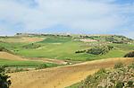 Farmland in valley beneath Acinipo Roman town site Ronda la Vieja, Serrania de Ronda, Spain