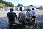 September 9, 2011, Kamaishi, Japan - Four survivors sit on a bench idly at a temporary housing in Toni, Iwate Prefecture, some 450km northeast of Tokyo, on Friday, September 9, 2011. They have survived an earthquake and tsunami on March 11, 2011. Nearly six months after the worst disaster Japan has ever experienced, recovery and reconstruction efforts has progressed in much of the northeastern region, although its still too far from what this area rich in culture and tradition once was. The death toll reaches over 15,000 with more than 4,500 people still missing. according to the National Police Agency. (Photo by Natsuki Sakai/AFLO) [3615] -mis-