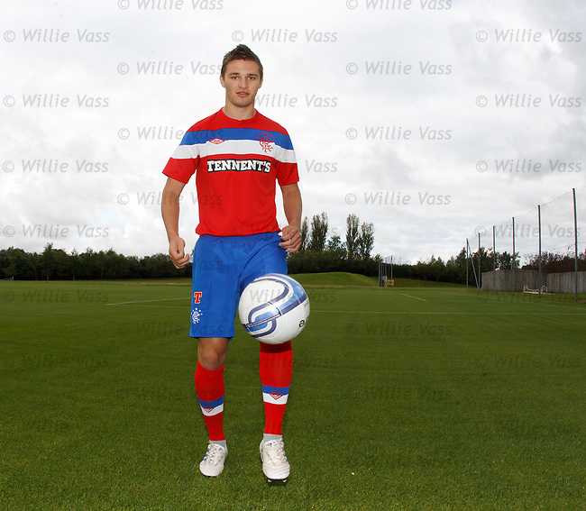Jamie Ness in the Rangers away kit at Murray Park
