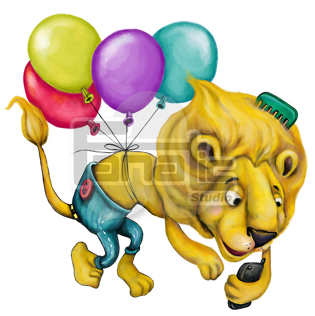 Illustration of lion with balloons and telephone over white background
