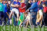 A Kerry supporter helps  Padraig Boyle after the final whistle where Kerry lost to their Tipperary counterparts in the Munster Minor Semi Final in Thurles.