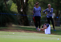 Michael Sim  (AUS) 2nd shot out of a bunker on the 9th during Round 1 of the ISPS HANDA Perth International at the Lake Karrinyup Country Club on Thursday 23rd October 2014.<br /> Picture:  Thos Caffrey / www.golffile.ie