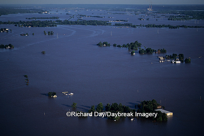 63816-01108 Aerial of flooded farms Flood of '93 near Alton   IL