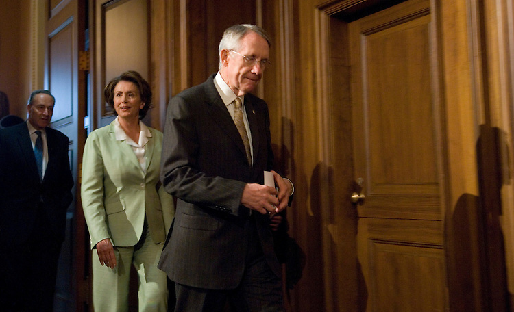 From left, Sen. Chuck Schumer, D-N.Y., Speaker of the House Nancy Pelosi, D-Calif., and Senate Majority Leader Harry Reid, D-Nev., arrive for the news conference to discuss the Democrat's accomplishments and their agenda for July on Friday, June 29, 2007.