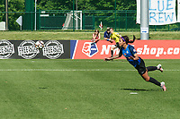 Kansas City, MO - Saturday May 13, 2017:  Sydney Leroux diving header during a regular season National Women's Soccer League (NWSL) match between FC Kansas City and the Portland Thorns FC at Children's Mercy Victory Field.
