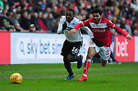 Joel Asoro of Swansea City battles with Jay Dasilva of Bristol City during the Sky Bet Championship match between Bristol City and Swansea City at Ashton Gate in Bristol, England, UK. Monday 02 February 2019